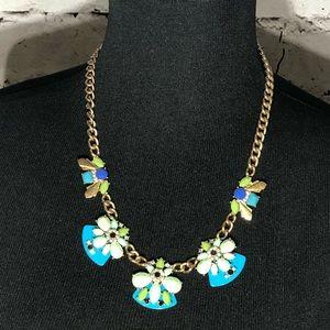 J. Crew Blue, Green Multi Color Statement Necklace